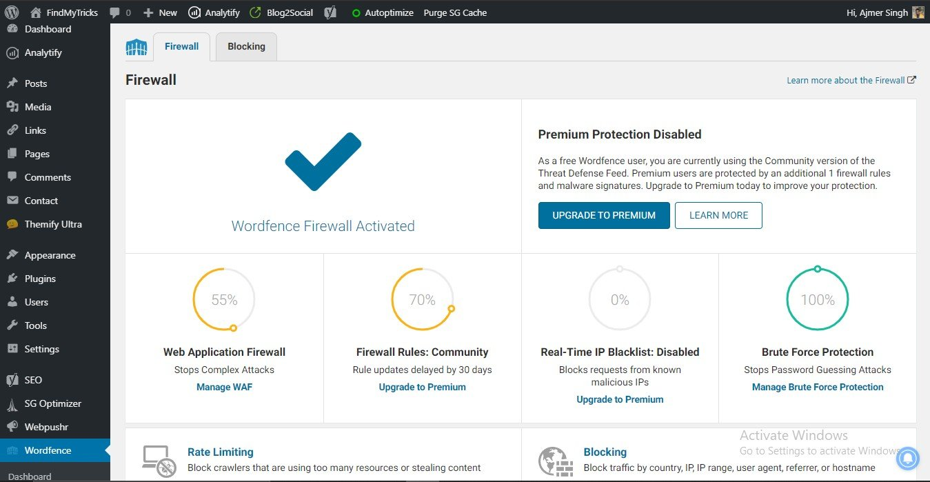 wordfence security settings for wordpress