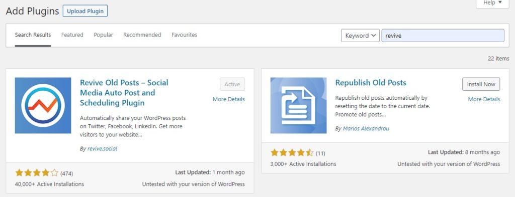 revive old posts plugin settings
