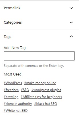 What are tags in WordPress posts